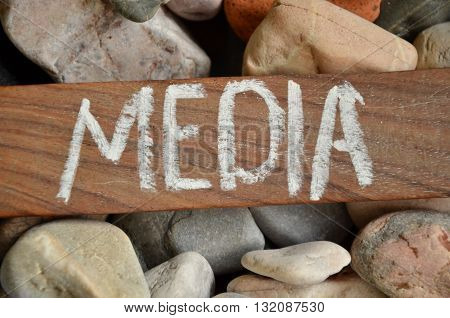 media word on a  abstract colorful background