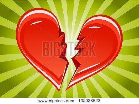 Two peases of broken heart on green background