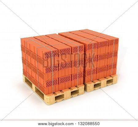 A set of bricks made on the wooden pallets. 3D illustration