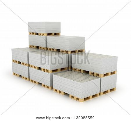 Stack drywall sheets stacked on wooden pallets isolated white background. 3D illustration