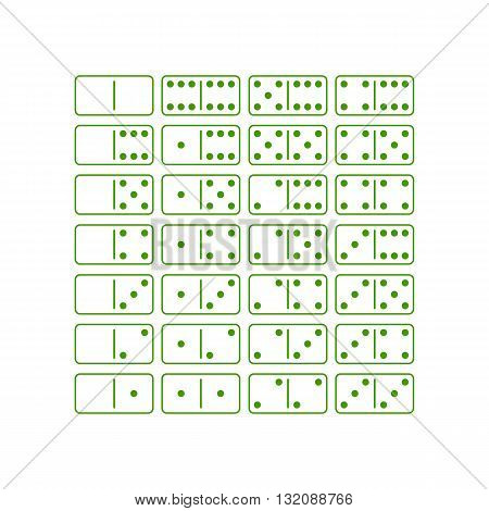 Green dominoes game icon set vector illustration isolated on white background.