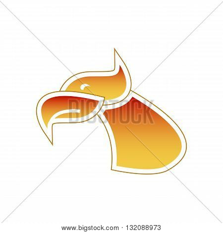 Stylized firebird or eagle head vector illustration isolated on white background.