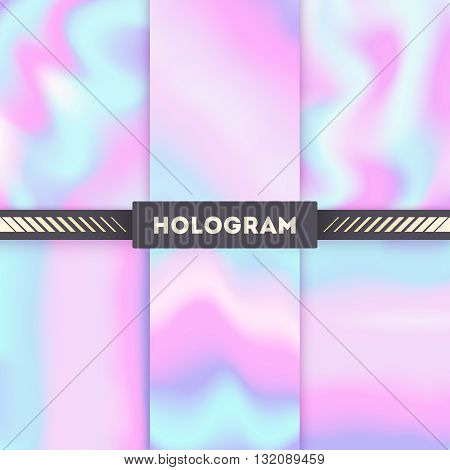 Rainbow colored hologram vector background set. Colored hologram rainbow and gradient hologram decorative with blurred multicolor illustration