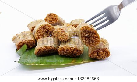 fried taro chinese traditional food on banana leaf
