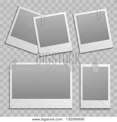 Vintage photo frame different size template with transparent shadow on transparent background. Portrait photo card and frame photo set group illustration
