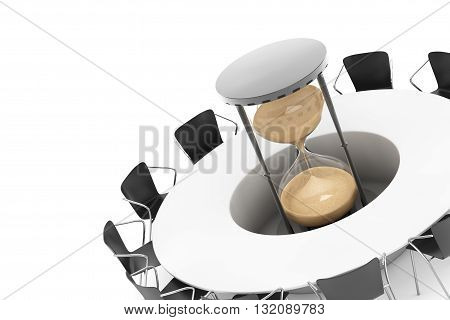 Business Time Concept. Chairs around a Table with Sand Clock in the middle on a white background. 3d Rendering