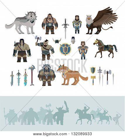 Stylized fantasy characters isolated on white background