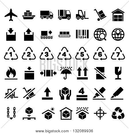 Logistic delivery packing sign and transportation industry packing icons. Packing and keep sticker, shipping packing merchandise to plane ship or car. Vector illustration
