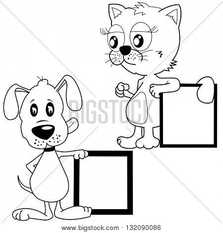 black and white cat and puppy holding banners cartoon