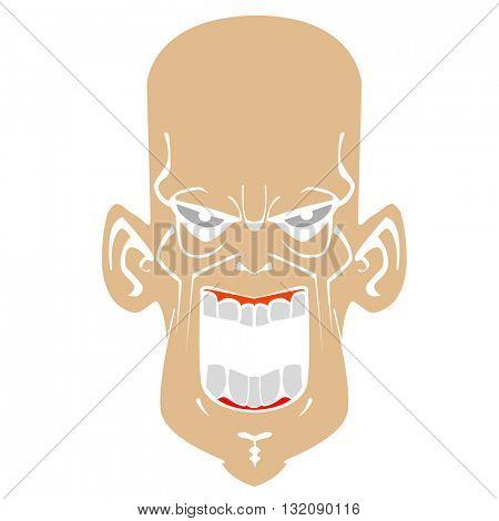 crazy evil face cartoon illustration