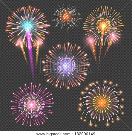 Festive firework vector set on checkered dark background. Firework bright set illustration, explosion firework abstract
