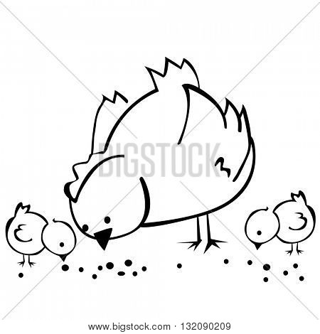 black and white hen and two chickens  cartoon