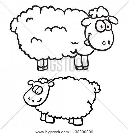 black and white two sheep cartoon