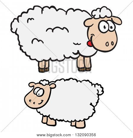 two sheep cartoon illustration isolated on white