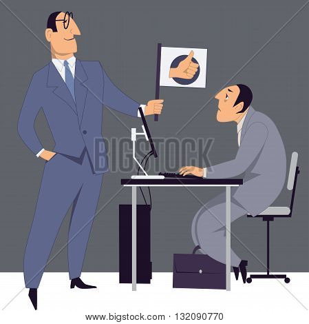 Boss encouraging an employee, giving him a thumbs-up