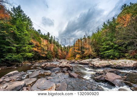 A wild river in the Appalachian mountains during Autumn