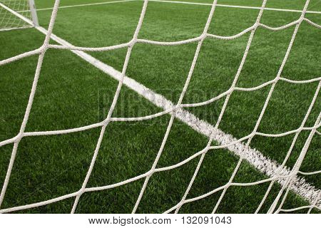 Hang Bended Soccer Nets, Soccer Football Net. Grass On Football Playground