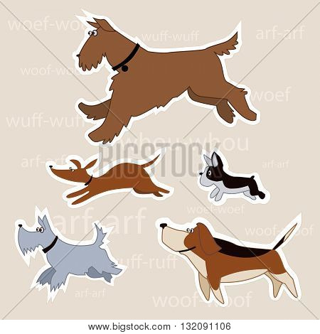 Cartoon dogs of different breeds isolated with a clipping path