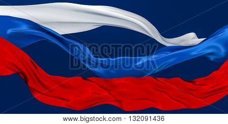 3D Illustration of TriColor Cut Ribbons Waving on dark blue background