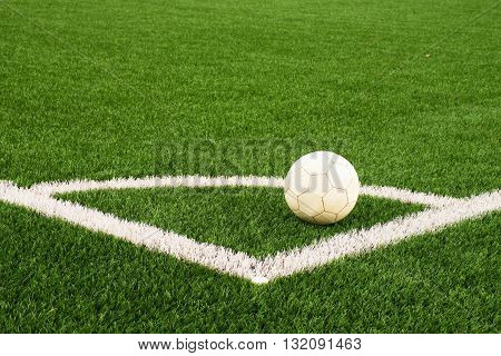 Ball Prepared For Corner Kick. Heated Football Playground. Corner On Artificial Green Turf Ground Wi