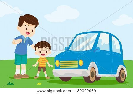 Dad and son looking car.Dad teaching his son about a car.Dad pointing a car with son.