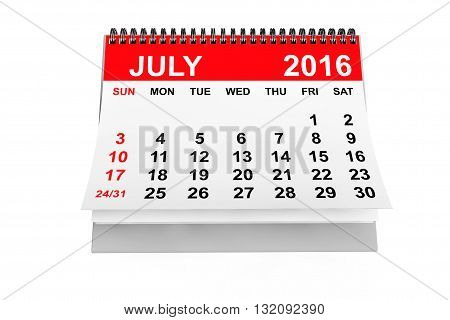 2016 year calendar. July calendar on a white background. 3d rendering