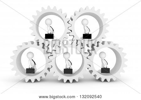 Business Team Concept. 3d Businesmans in Clogwheels on a white background. 3d Rendering