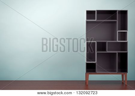 Old Style Photo. Modern Abstract Shelf on the floor. 3d rendering