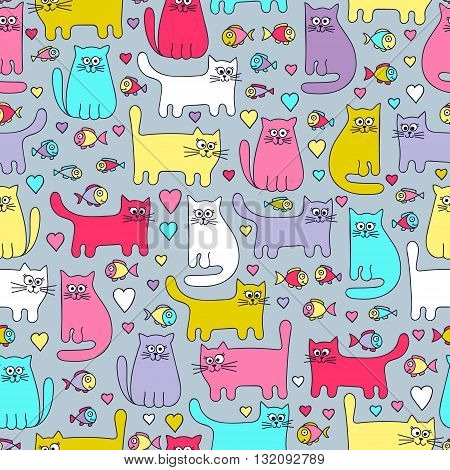 Vector seamless pattern with colorful cats and fish. Funny doodle cats. Cartoon hand drawn pattern for children. Bright colors on grey background.