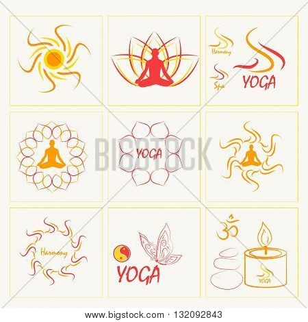 Set of icons illustrations and logo on the theme of yoga and healthy lifestyle. Gold and pink colors.