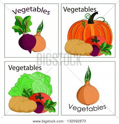 Set of stickers of fresh vegetables. It can be used for vegetable department in markets or stalls advertising for products from vegetables and any other application