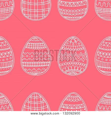 Easter eggs with doodle ornament. Seamless vector pattern with hand drawn easter eggs.