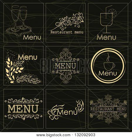 Set of stickers for a beautiful decorated restaurant menu a cafe and snack bars can be used as a logo or other