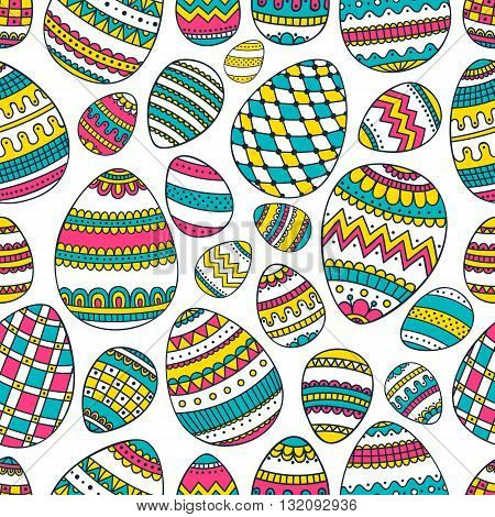Eggs with hand drawn doodle ornament. Seamless easter doolde pattern with eggs. Vector background.