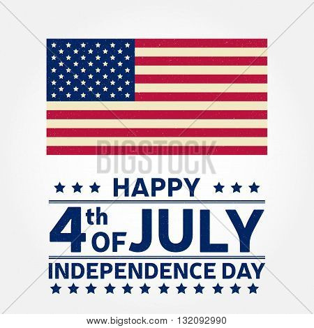 Happy Independence Day background template. Happy 4th of july poster. Happy 4th of july and American flag. Patriotic banner. Vector illustration.