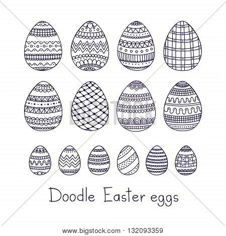 Doodle Easter eggs. Vector set of easter eggs with doodle ornament. Hand drawn easter elements.