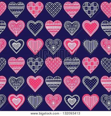 Doodle hearts. Vector seamless pattern with hand drawn hearts. Hearts with doodle ornament. For Valentines day design.