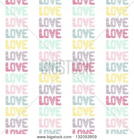 Doodle seamless pattern with hearts and love. Cute colorful background for St. Valentine's Day.