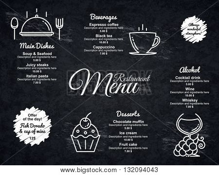 Restaurant menu design. Vector menu brochure template for cafe, coffee house, restaurant, bar. Food and drinks logotype symbol design. With a crumpled vintage background