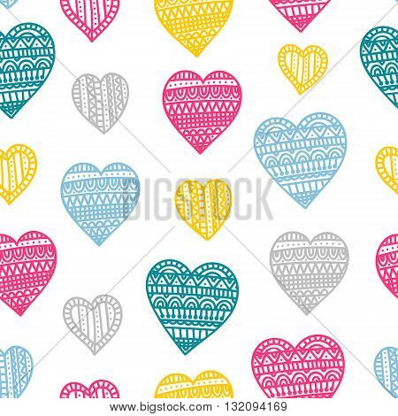Doodle hearts. Seamless vector pattern with doodle hearts. Colorful background for St. Valentine's Day.