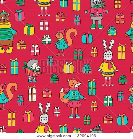 Christmas pattern. Vector pattern with doodle animals and gifts. Cute winter background. Fox bear rabbit cat hedgehog and squirrel.