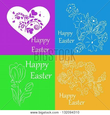 Set of white stickers on a colored background for spring greetings for Easter. It can be used to gift card accompanying