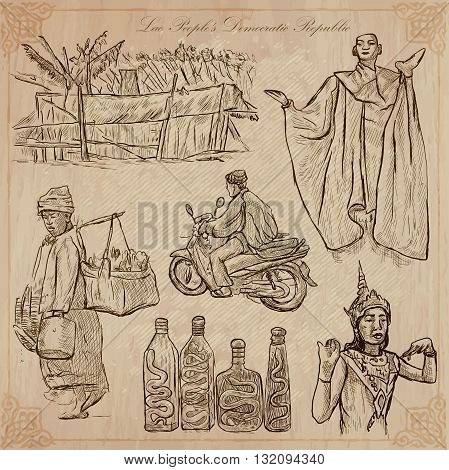 Travel collection. LAOS traveling set. Pictures of Life Lao People's Democratic Republic.Hand drawn vector pack freehand sketching. Illustrations are editable.All things are named inside the vector.