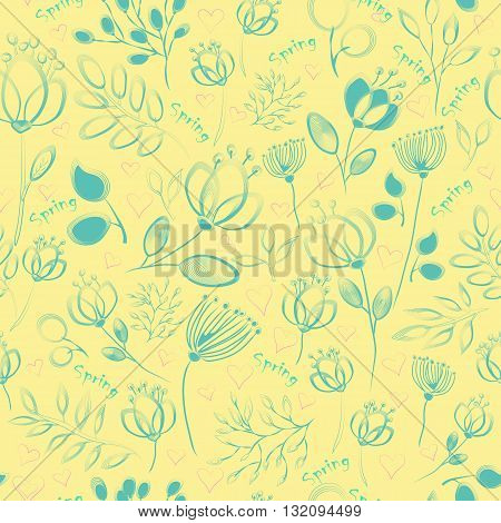 Floral Seamless pattern. Blue painted flowers and plants with yellow background. Drawing effect. Summer seamless pattern. Illustration.