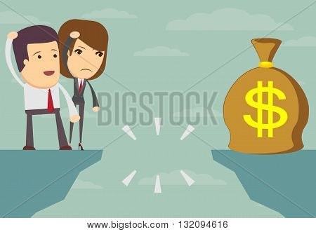 Business people in front of a gap and looking into the empty space underneath - stock vector illustration