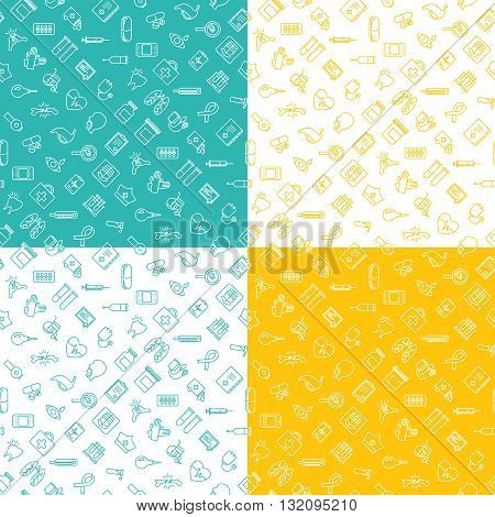 Medicine ison seamless pattern flat line set of 4