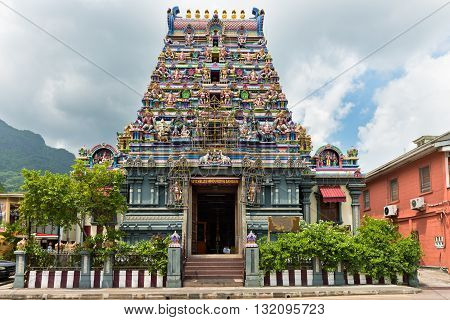 Facade Of A Hindu Temple In Victoria, Mahe, Seychelles