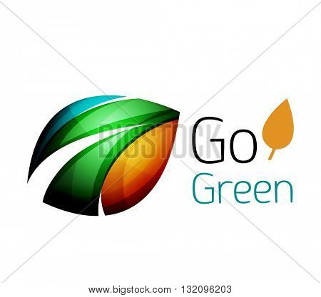 Colorful leaf logo. Geometric abstract icon. Nature or eco concept. Vector illustration