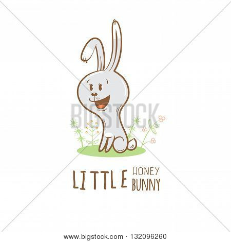 Card with cute cartoon hare. Little funny bunny. Children's illustration. Vector image.