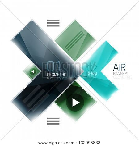 Glass arrow design template. Business infographic template